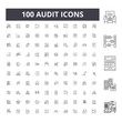 Audit line icons, signs, vector set, outline concept illustration