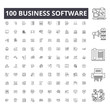 Business software line icons, signs, vector set, outline concept illustration