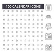 Calendar line icons, signs, vector set, outline concept illustration
