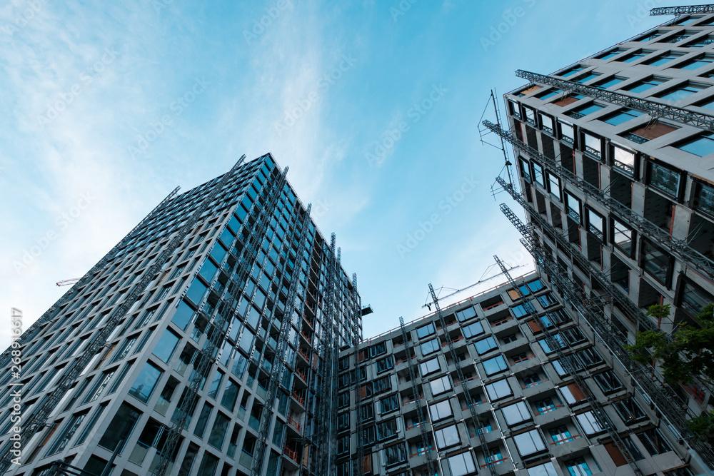 Fototapeta building facade under construction, real estate development  -