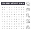 Marketing plan line icons, signs, vector set, outline concept illustration