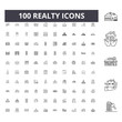 Realty line icons, signs, vector set, outline concept illustration