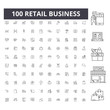Retail business line icons, signs, vector set, outline concept illustration