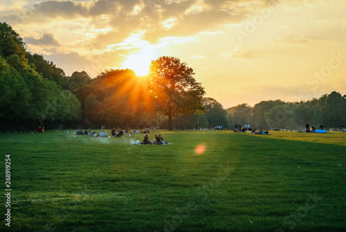 Foto op Plexiglas Weide, Moeras Beautiful Sunset and people grilling and having a picnic at the Stadtpark in Hamburg, Germany.