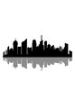 Leinwandbild Motiv stadt gespiegelt spiegelung schatten metropole silhouette umriss hauptstadt großstadt wolkenkratzer hochhäuser reisen urlaub ferien millionenstadt weltstadt häuser clipart logo design cool