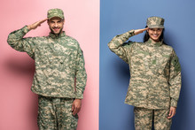 Man And Woman In Military Uniform Saluting On Blue And Pink
