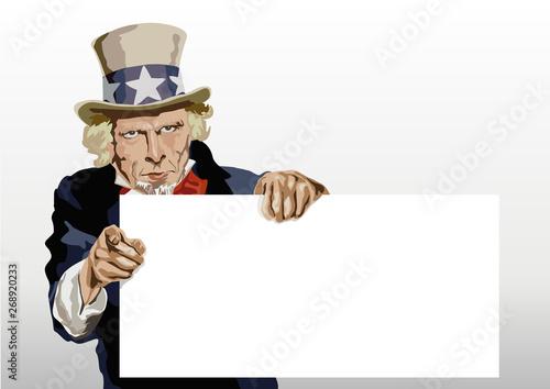 Photo Concept du leadership américain avec le portrait de l'Oncle Sam présentant une panneau blanc pour inscrire et faire passer un message
