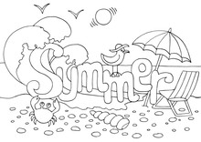 Hand Drawn Coloring Page On Summer Theme