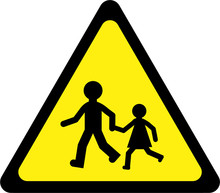 Warning Sign With Kids Play