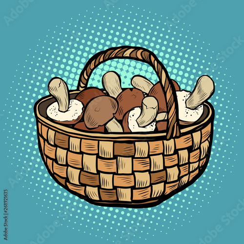 Fototapeta basket with mushrooms obraz