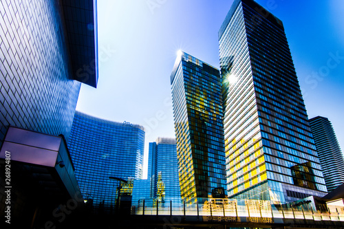 Photo Stands Las Vegas skyscrapers in the city