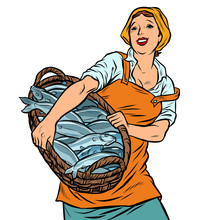 Woman Fisherman With A Basket Of Fish. Oceanic Herring And Cod