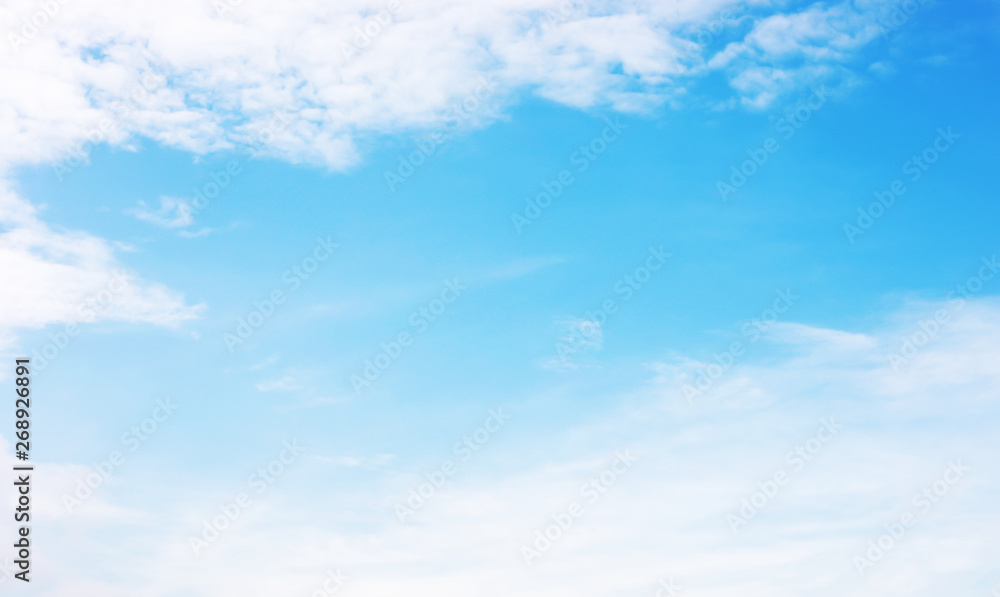 Fototapety, obrazy: Blue sky background and white clouds soft focus, and copy space