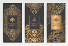 Black And Gold Packaging Design Of Chocolate Bars. Vintage Vector Ornament Template. Elegant, Classic Elements. Can Be Used For Background, Wallpaper Or Any Desired Idea.