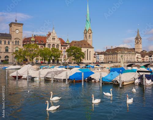 Fotobehang Zwaan The Limmat river in the city of Zurich, Switzerland