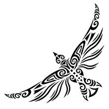 Bird Flying Tattoo Tribal Stylised Maori Koru Design