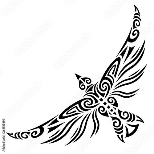 Bird flying tattoo tribal stylised maori koru design Fototapeta