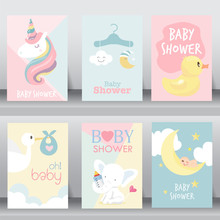 Cute Baby Shower Invitation. Vector