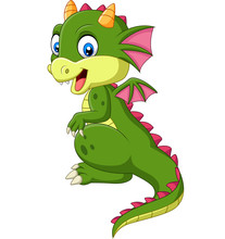 Cartoon Cute Baby Dragon On White Background