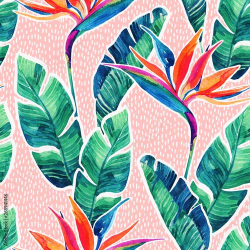 Fototapeten Künstlich Floral exotic seamless pattern. Watercolor tropical flowers on doodle background