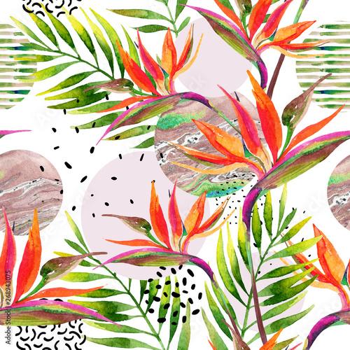 geometryczne-ksztalty-z-akwarela-kwiaty-liscie-palmowe-marmur-grunge-tekstur