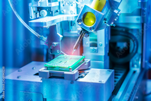 soldering iron tips of robotic system for printed and assembly electric circuit board ( PCB ) at factory