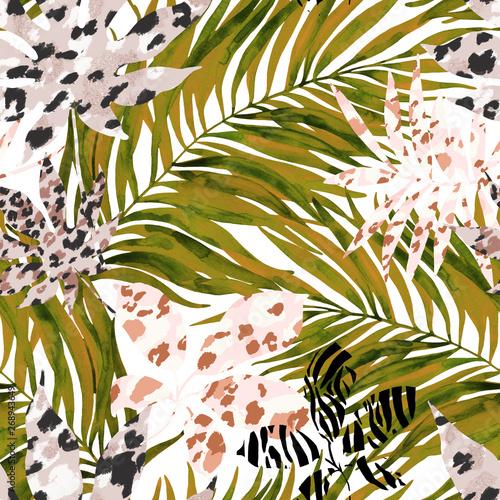 tropikalne-akwarela-tropikalne-liscie-wypelnione-tle-wydruku-zwierzat