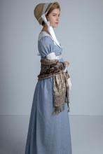 Regency Woman In Blue Dress