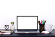 canvas print picture - laptop background, workspace with laptop computer, office supplies gadget at home or studio office. Desk space Mock up blank screen,Front view of creative designer desktop with blank laptop screen,