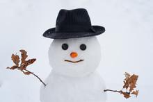 Handmade Snowman In The Snow O...