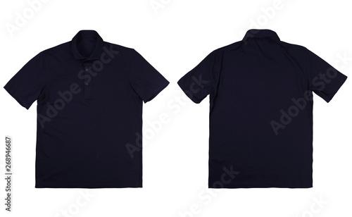 Fototapeta Front and back blue navy polo shirt on white background obraz na płótnie