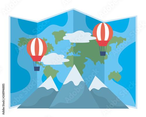 Cadres-photo bureau Bleu vert Travel icon set design