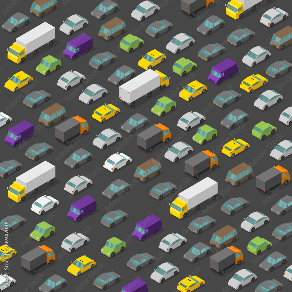 Fototapety, obrazy: Vector isometric high traffic jam. A lot of cars. Transport highway background pattern. Top view of the road and multi-colored cars.