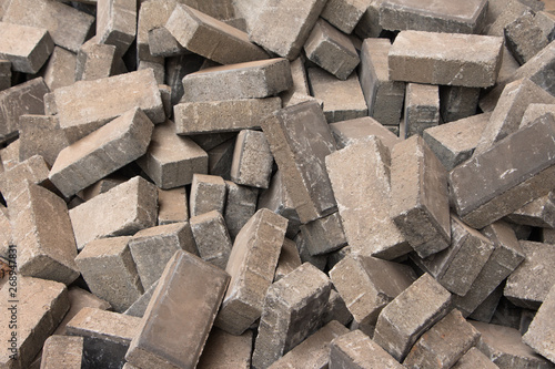 Fototapety, obrazy: Gray long concrete bricks piled up in disorder