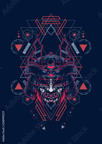 samurai mask sacred geometry Wallpaper Mural
