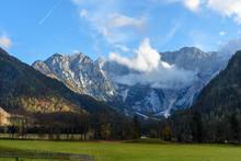 View Of Mount Skuta From Valley Zgornje Jezersko In Northern Slovenia