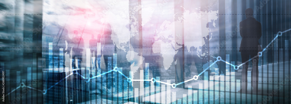 Fototapeta Business finance growth graph chart analysing diagram trading and forex exchange concept double exposure mixed media background website header.