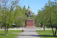 Sculpture Of The Russian Emperor Peter The Great On Horseback In The Altai City Of Biysk