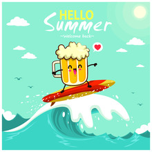 Vintage Summer Poster Design With Beer Characters.