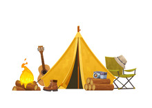 Camping Concept With Tent Guitar Bonfire Chair And Camera