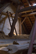 Wooden Barn With Hay And A Lad...