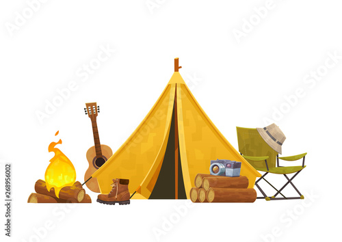 Montage in der Fensternische Weiß Camping concept with tent guitar bonfire chair and camera