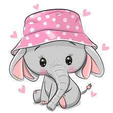 Cute Elephant In Panama Hat Isolated On A White Background