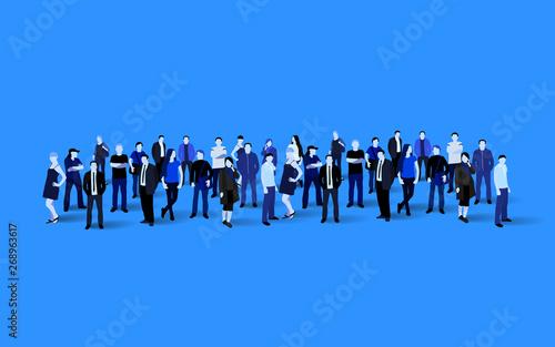 Fotografía Big people crowd on blue background. Vector