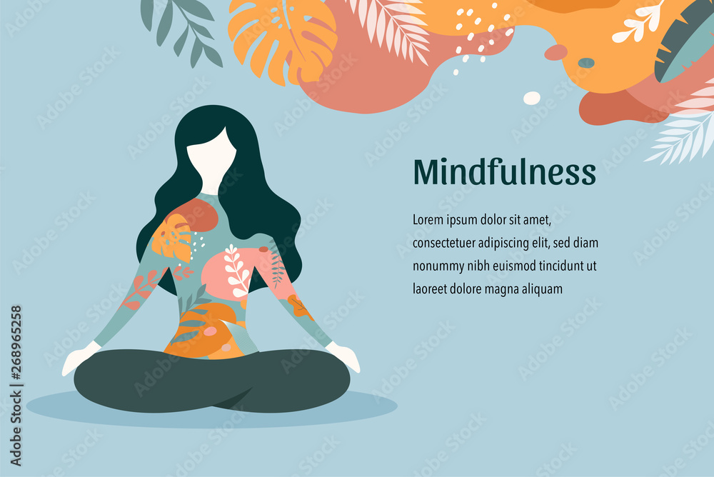 Fototapeta Mindfulness, meditation and yoga background in pastel vintage colors - women sitting with crossed legs and meditating. Vector illustration
