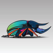 Rhino Beetle Cartoon Character With Design.,  Art Illustration