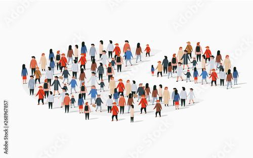 Fototapeta Population demographics report, pie chart composed of people. obraz