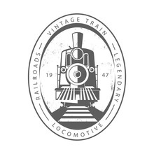 Vintage Train Locomotive, Engraving Style Vector Illustration. Logo Design Template. - Vector