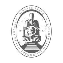 Vintage Train Locomotive, Engraving Style Vector Illustration. Logo Design Template. - Vector