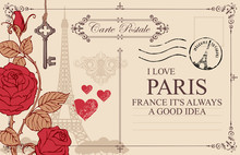 Retro Postcard With Eiffel Tower In Paris, France. Romantic Vector Postcard In Vintage Style With Red Roses And Hearts, Old Key And Keyhole, Postmark And Words I Love Paris
